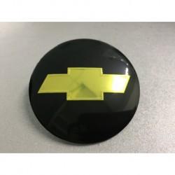 Наклейка Chevrolet D56 мм алюминий (Золотистый логотип на черном фоне)