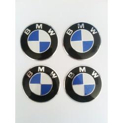 Наклейки BMW D56 мм алюминий (Бело-синий логотип серебристая окантовка на черном фоне)