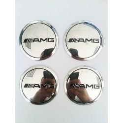 Наклейки AMG D56 мм алюминий (Черный логотип на хромированном фоне)