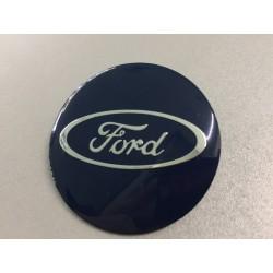 Наклейки Ford D56 мм алюминий (Серебристый логотип на синем фоне)
